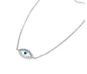 925 Sterling Silver White Evil Eye Necklace