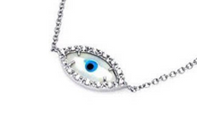 Load image into Gallery viewer, 925 Sterling Silver White Evil Eye Necklace