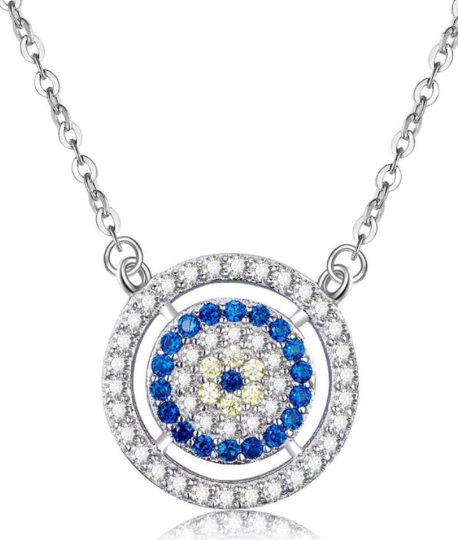 925 Sterling Silver Round Framed Evil Eye Pendant Necklace