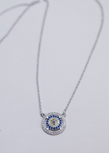 Load image into Gallery viewer, 925 Sterling Silver Round Framed Evil Eye Pendant Necklace