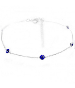 925 Sterling Silver Anklet with Blue Evil Eyes