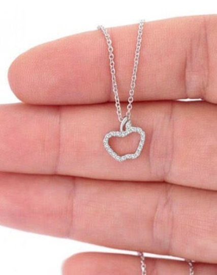 925 Sterling Silver Apple Necklace