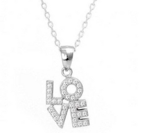 925 Sterling Silver LOVE Necklace
