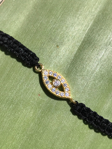 18K Gold over 925 Sterling Silver Adjustable Almond Shaped Evil Eye Macrame Bracelet