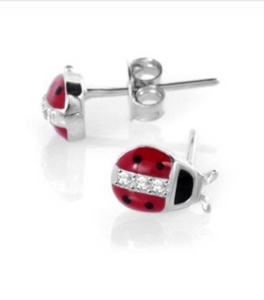 925 Sterling Silver Lady Bug Earring