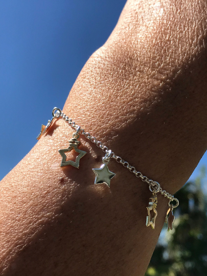 Sterling Silver Two Toned Dangling Stars Bracelet