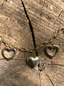 Sterling Silver Gold Plated Dangling Hearts Bracelet