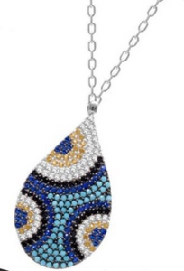 925 Sterling Silver Nano Turquoise Teardrop Necklace