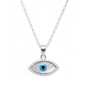 Load image into Gallery viewer, 925 Sterling Silver Mother of Pearl Evil Eye Necklace