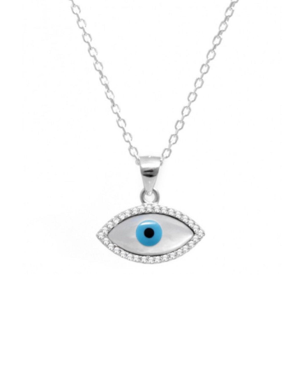 925 Sterling Silver Mother of Pearl Evil Eye Necklace