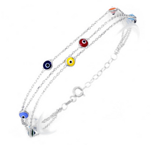 925 Sterling Silver Tri Link Bracelet with Dual Sided Multi Colored Murano Glass