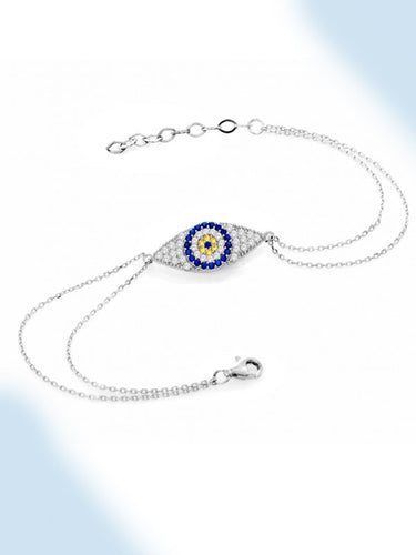 925 Sterling Silver Double Chained Evil Eye Bracelet-0