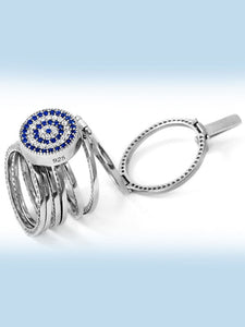 925 Sterling Silver Evil Eye Interchangeable Bracelet to Ring -157