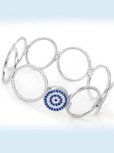 925 Sterling Silver Evil Eye Interchangeable Bracelet to Ring -158
