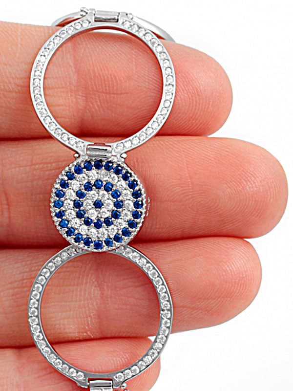 925 Sterling Silver Evil Eye Interchangeable Bracelet to Ring -0
