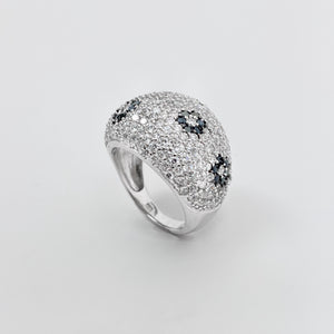 925 Sterling Silver Micro Pave Dome Ring with Black Flowers