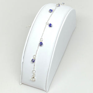 925 Sterling Silver Anklet with Dangling Blue Evil Eyes