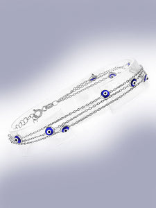 925 Sterling Silver Tri Link Bracelet with Dual Sided Blue Murano Glass Evil Eyes