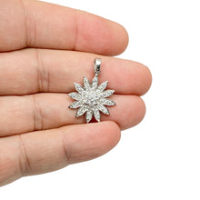 Load image into Gallery viewer, 925 Sterling Silver Dangling Flower Micro Pave  Pendant