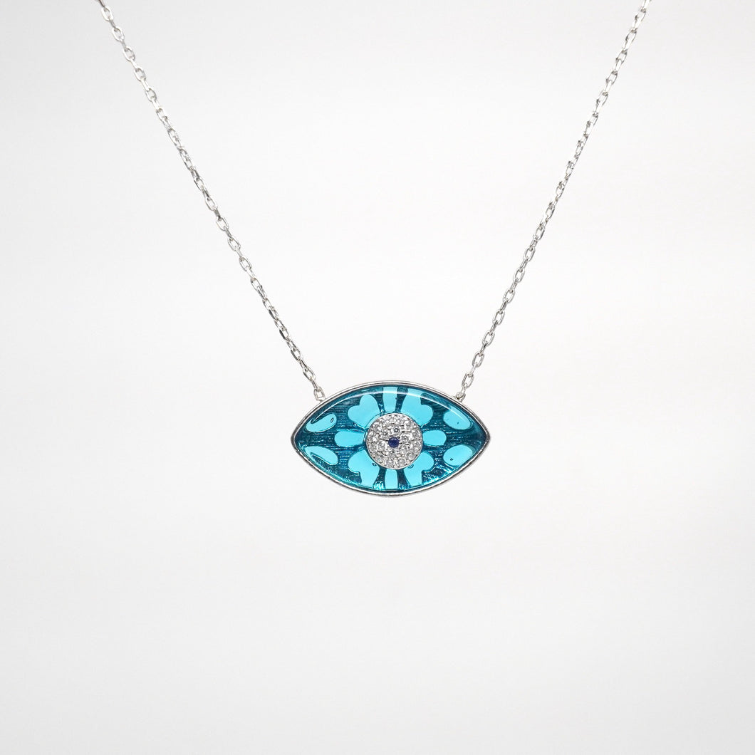 925 Sterling Silver Modern Marquee Bezel Set Evil Eye Necklace