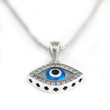 Load image into Gallery viewer, 925 Sterling Silver Greek Mati Almond Shaped Evil Eye Necklace