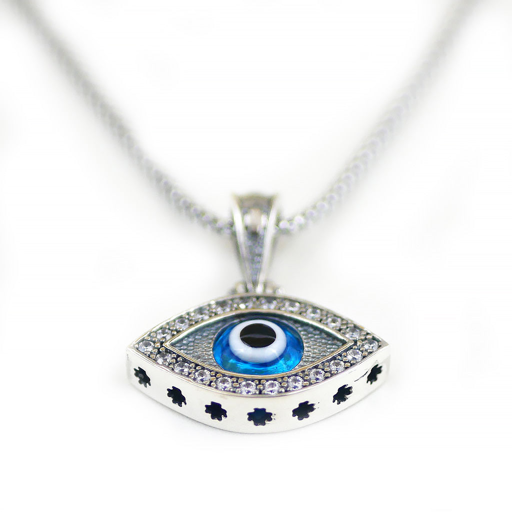 925 Sterling Silver Greek Mati Almond Shaped Evil Eye Necklace