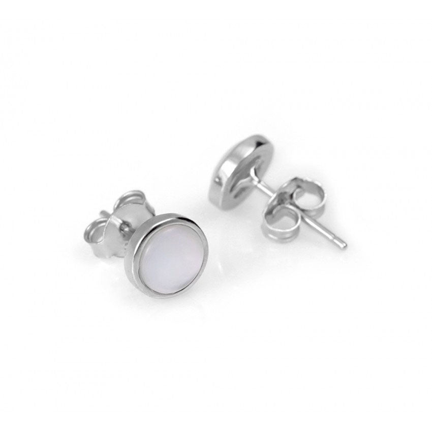 925 Sterling Silver Mother of Pearl Bezeled Stud Earrings