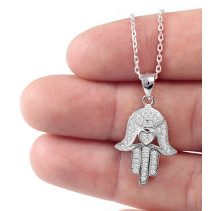 Sterling silver Hamsa necklace with cz-0