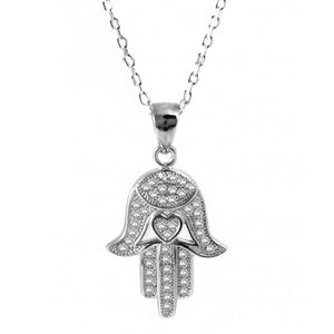 Sterling silver Hamsa necklace with cz-256