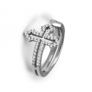 925 Sterling Silver Modern Cross Ring-0