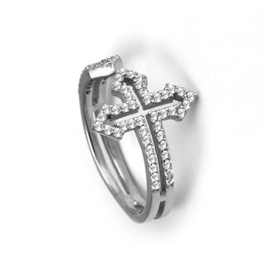 925 Sterling Silver Modern Cross Ring-265