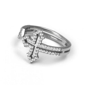 925 Sterling Silver Modern Cross Ring-263