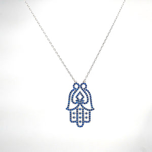 925 Sterling Silver Large Vintage Inspired Blue Hamsa/Hand of Fatima Necklace