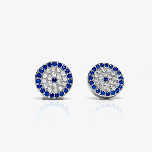 925 Sterling Silver Large Round Pave Evil Eye Stud Earrings