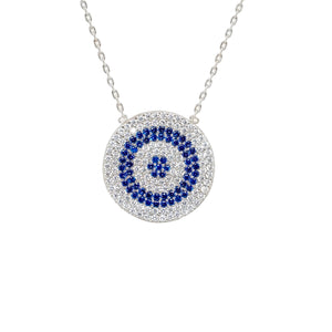 925 Sterling Silver Flat Micro Pave Modern Evil Eye Necklace