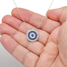 Load image into Gallery viewer, 925 Sterling Silver Flat Micro Pave Modern Evil Eye Necklace