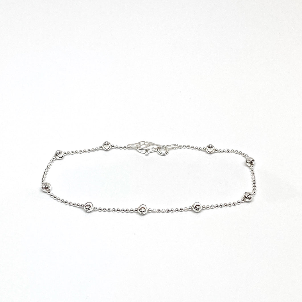 Sterling Silver Diamond Cut Balls Chain with Extra Diamond Cut Balls Bracelet/Anklet