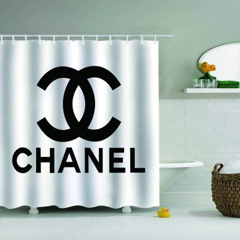 chanel shower curtain and rug set