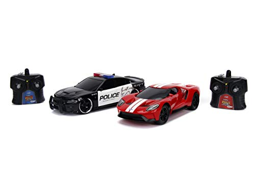 Jada Toys Heat Chase RC 2017 Ford GT & 2015 Dodge Charger SRT Hellcat Remote Control Vehicles 1:16 Scale Red & Black with White