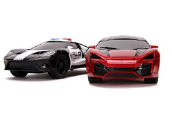 Jada Toys Hyperchargers 1:16 2017 Ford GT & Lykan Hypersport Police Remote Control Car, Toys for Kids and Adults