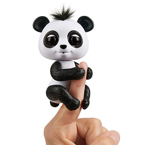 WowWee Fingerlings Glitter Panda - Drew (White & Black) - Interactive Collectible Baby Pet