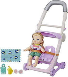 Baby Alive Littles, Push 'N Kick Stroller, Little Ana, Blonde Hair Doll, Legs Kick, 6 Accessories, Toy for Kids Ages 3 Years Old & Up
