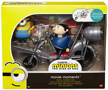 Minions: The Rise of Gru Movie Moments Pedal Power Gru Action Figure Interactive Toy with Articulation & Movie Scene Accessories, Great Gift for 4 Years & Older Minion Fans