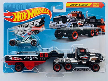 HW 2020 SuperRigs Haulin-Horsepower (Black/red) Detachable Trailer with ATV Bike!