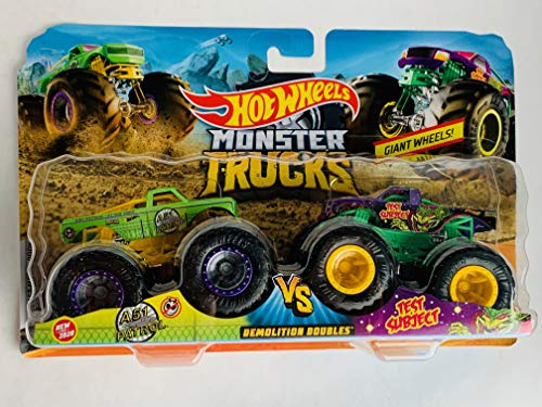 Hot Wheels 2020 Monster Trucks Demolition Doubles 1:64 Scale, A51 Patrol and Test Subject