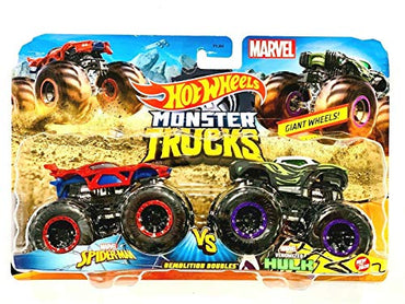 Hot Wheels 2020 Monster Trucks DemolitionDoubles 1:64 Scale, Spider-Man vs Venomized Hulk