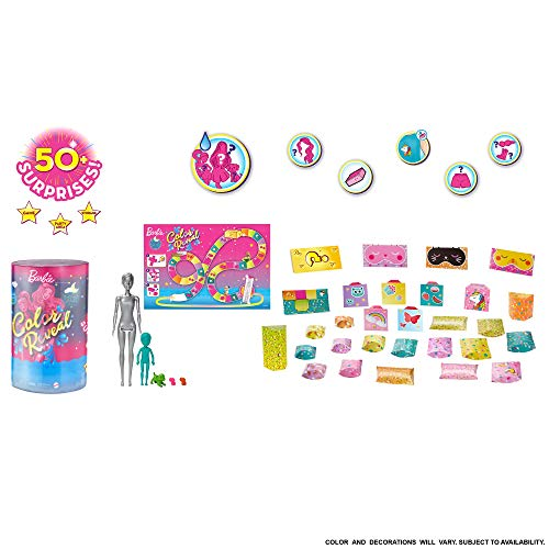 Barbie Color Reveal Set with 50+ Surprises Including 2 Dolls, 3 Pets & 36 Slumber Party-Themed Accessories; Water Reveals Dolls' & Pets' Looks & Creates Color Change on Certain Pieces; 28 Mystery Bags
