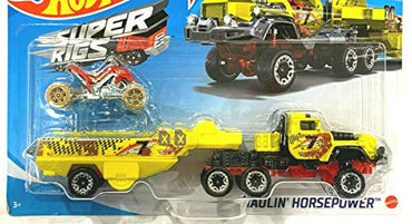 DieCast Hotwheels Super Rigs Haulin' Horsepower (Yellow) ATV Included