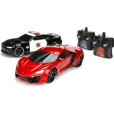 Jada Toys HyperChargers Heat Chase Twin Pack 1:16 RC, Lykan Hypersport & 2016 Chevy Camaro SS-Police