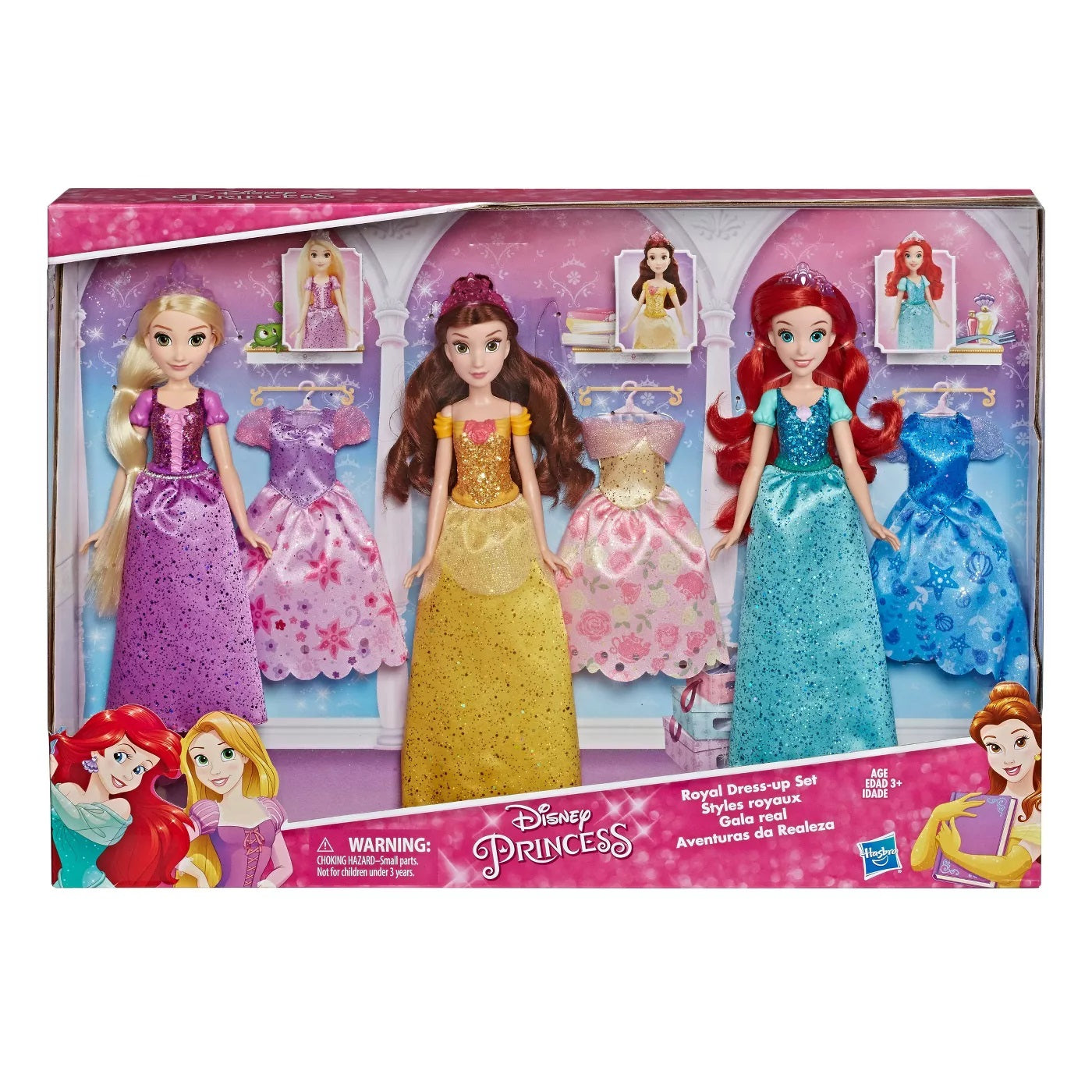 Disney Princess Royal Dress-Up Set (Rapunzel, Belle, Ariel Dolls + Extra Dresses)